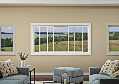 Slider Window in Living Room with Farm Scene